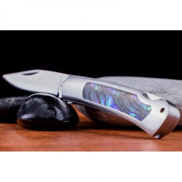 Kissing Crane Genuine Abalone Stainless Steel Mini Pocket Knife
