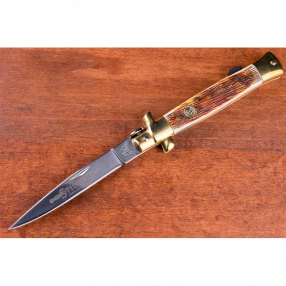 Kissing Crane Amber Bone Stiletto Pocket Knife