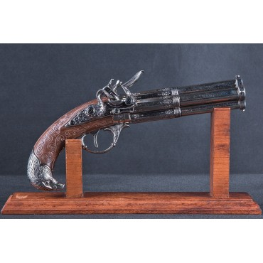 4 Barrel Flintlock Pistol, France 18th