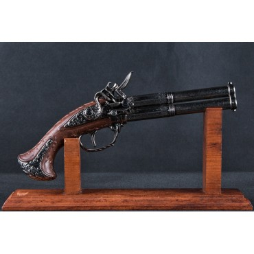 2 Barrel Flintlock Pistol, France 18th. C.