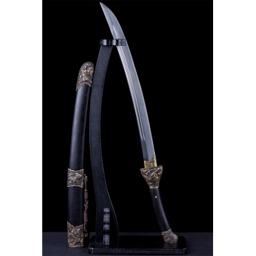 Chinese Qilin Kirin Qing Dao Sword Damascus Folded Steel Hand Polish Blade