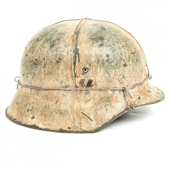German WWII Reproduction M42 12 SS Hitlerjugend Helmet - Battle of the Bulge (Ardennes)
