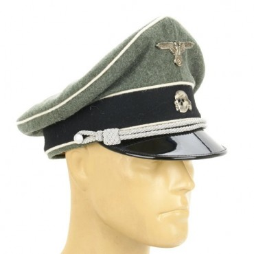 German Waffen SS Officer Crusher Cap - Field Grey Wool with Metal Badges