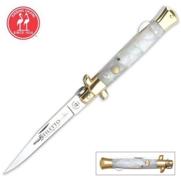 Kissing Crane Mother Of Pearl Stiletto Pocket Knife