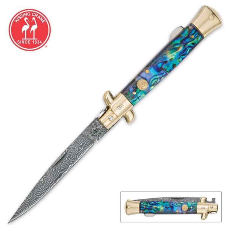Kissing Crane Genuine Abalone Damascus Stiletto Knife