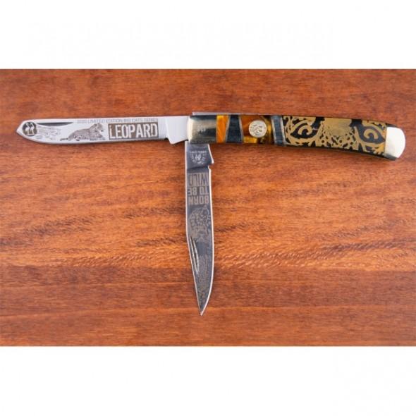 Kissing Crane Limited Edition Leopard Trapper Pocket Knife