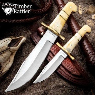 Timber Rattler Camel Bone Bowie Knife - Two-Knife Set with Leather Twin Sheath