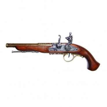 18th Century Flintlock Pistol 39cm Gold Barrel