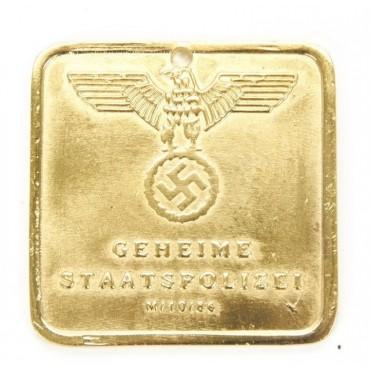 German WWII Gestapo Brass ID Tag