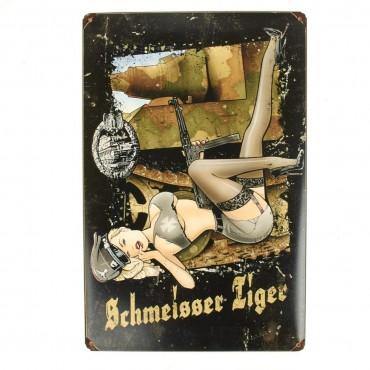 German WWII Vintage Metal Sign Panzer Schmeisser Tiger