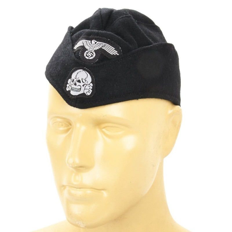 German SS Panzer Overseas Cap- Black Wool Side Cap