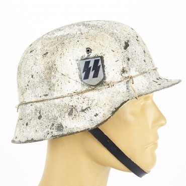 German WWII M42 Steel Helmet- Textured White SSLAH