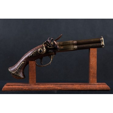 Denix 3 Barrel Flintlock Pistol, France 18th Century