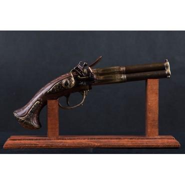 Denix 3 Barrel Flintlock Pistol, France 18th Century