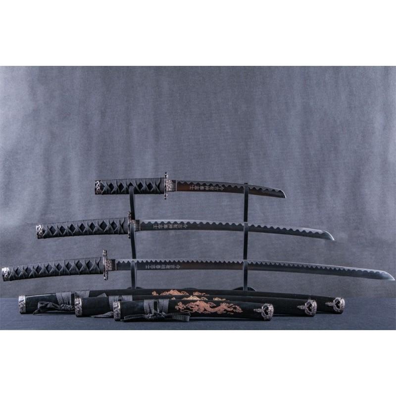 3 pc Black Samurai Set with Engraved Dragon