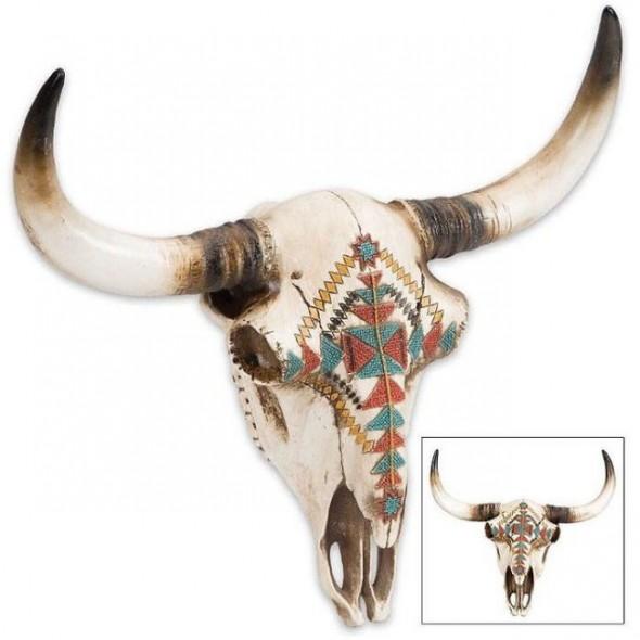 Southwest Native American Longhorn Bull Skull Resin Sculpture